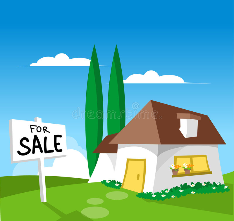 House For Sale. (check out my other illustration with SOLD sign royalty free illustration