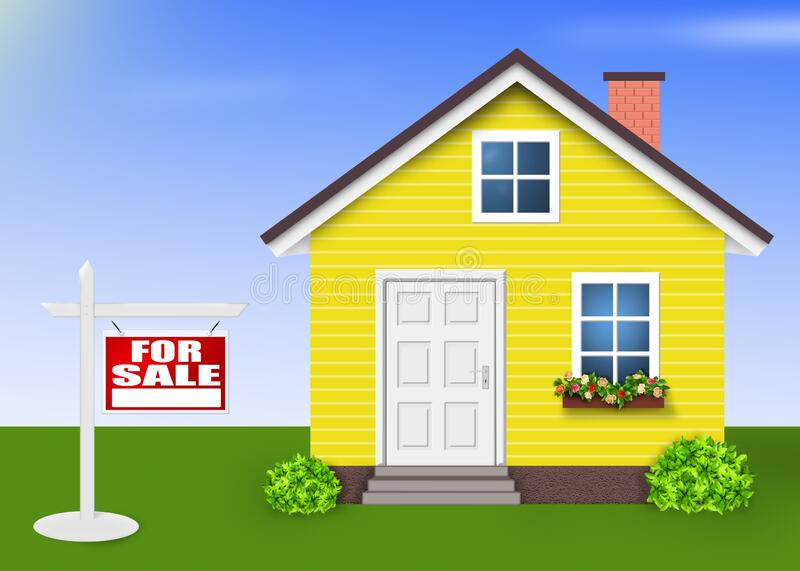 House For sale ,Home yellow colors. Green stock illustration