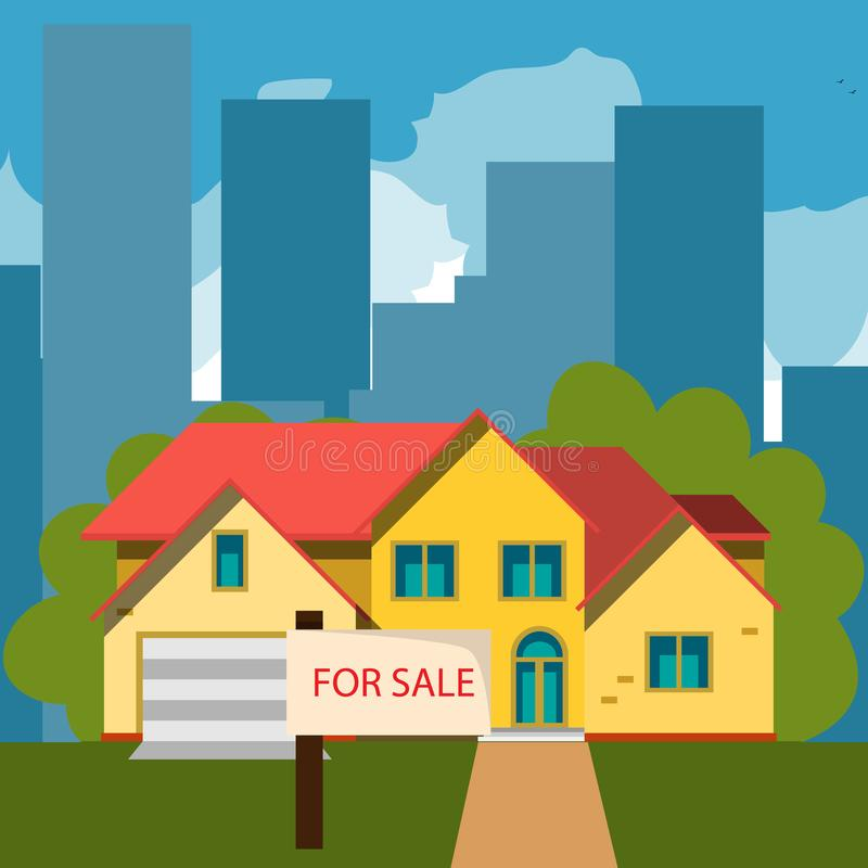 House for sale. The house and sign in the foreground with the information. Vector illustration in flat style royalty free illustration
