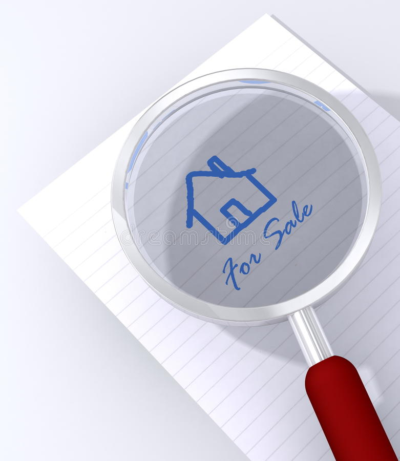 House for sale magnified vector illustration