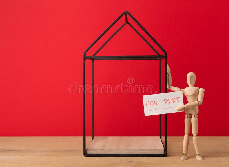 House for sale from owner on red background stock photos