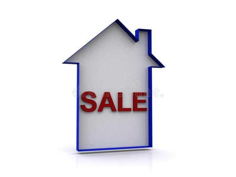House with sale sign stock illustration