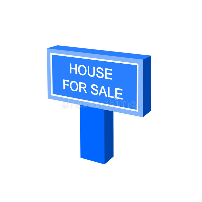House sale sign. Simple house for sale sign with white letters on blue color, 3d digital illustration perspective view stock illustration
