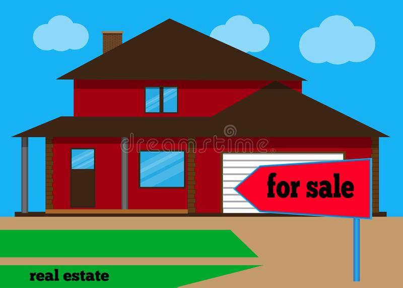 House For sale. The house and sign in the foreground with the information. Vector illustration. House For sale. The house and sign in the foreground with the vector illustration