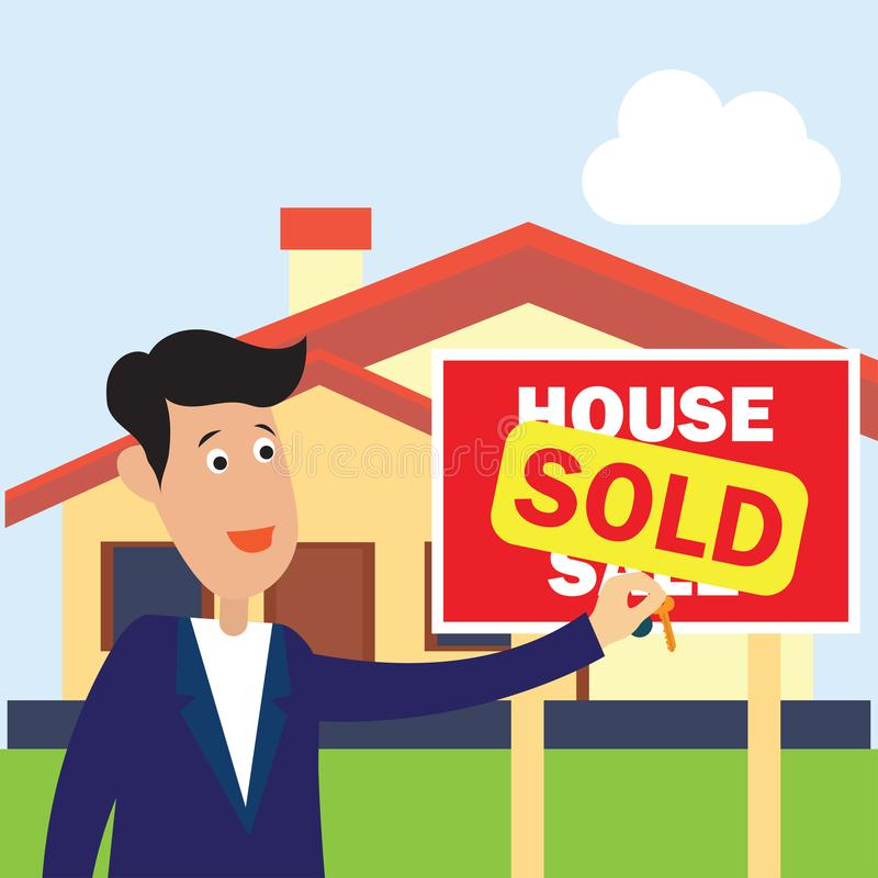 House for sale sign and sold for real estate concept. Vector illustration royalty free illustration