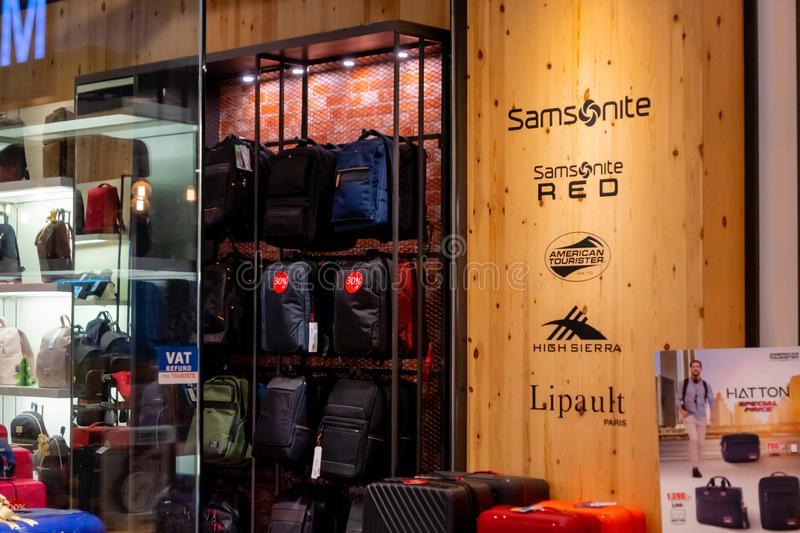 House of Samsonite showroom to sell many style of suitcase and luggage in the Blueport shopping mall Hua Hin, Thailand February 15. The House of Samsonite stock photo