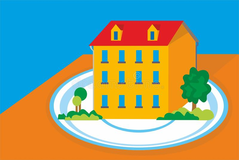 A house on a saucer with a blue border. stock images