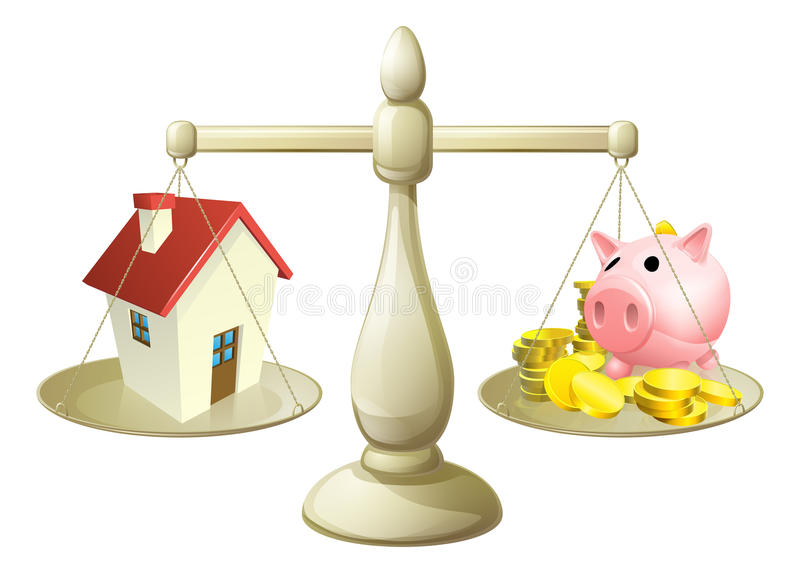 House or savings scale concept royalty free illustration