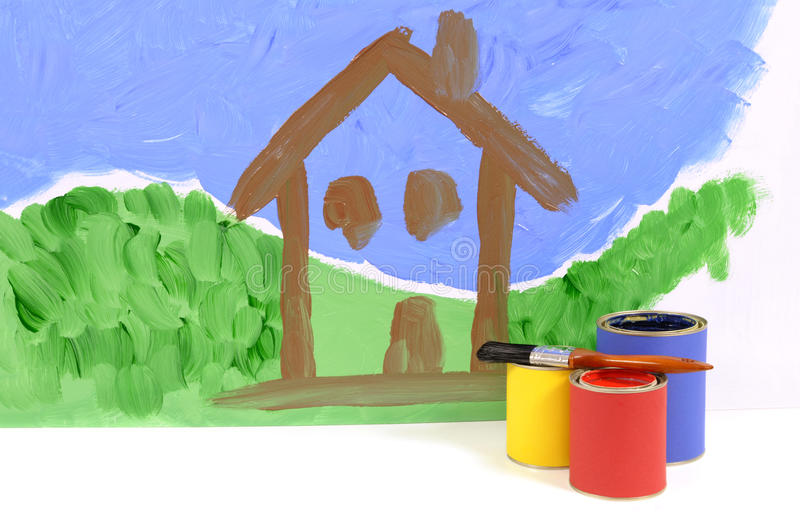 Home decorating, repairs, image of house painted on wall, with paint cans and paintbrush. Home decorating concept with partly painted house scene on a white wall stock photos