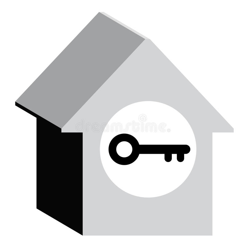 House security key. Creative design of house key royalty free illustration