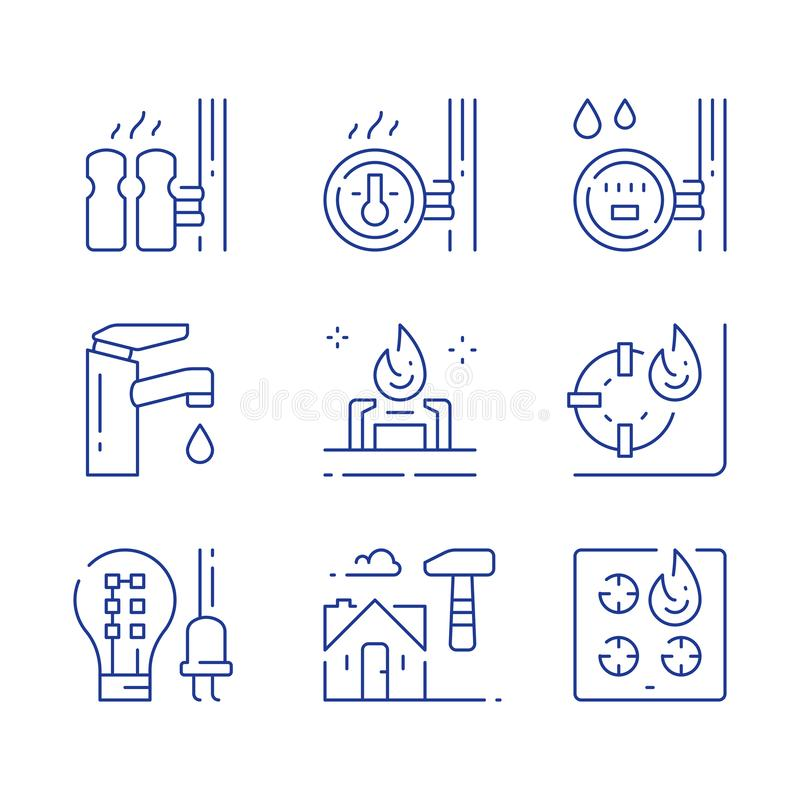 House services, electricity efficient light-bulb, water faucet, central heating, resources consumption meter, gas stove burner vector illustration