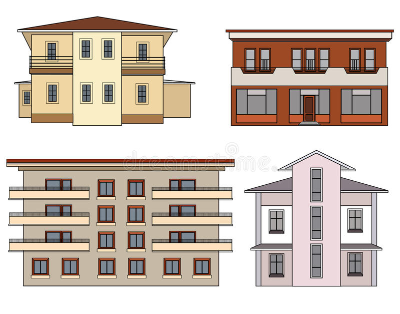 House set. Building isolated collection royalty free illustration