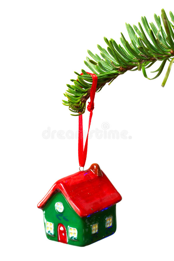 House shape bauble. Hanging on christmas tree stock images