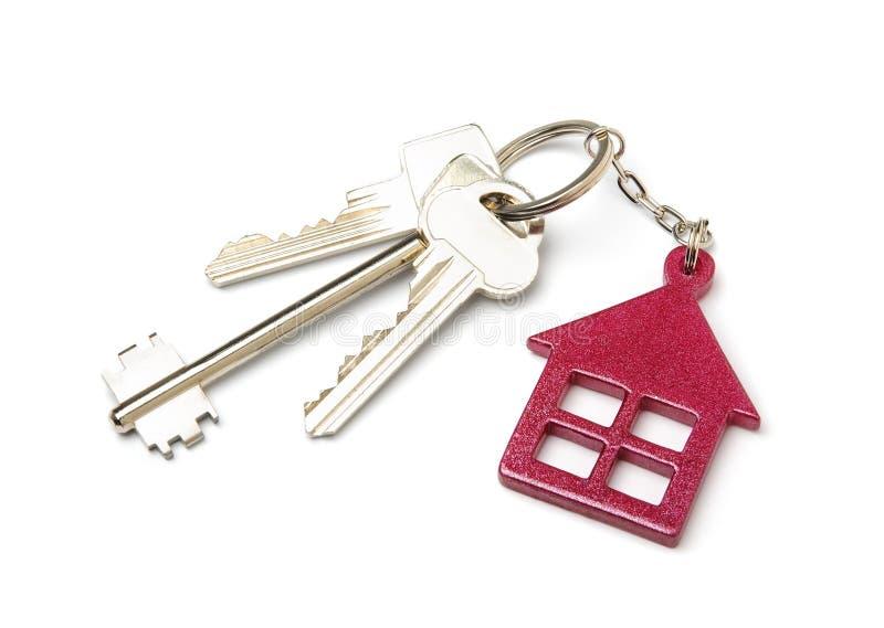 House shaped key chain isolated on white background stock images