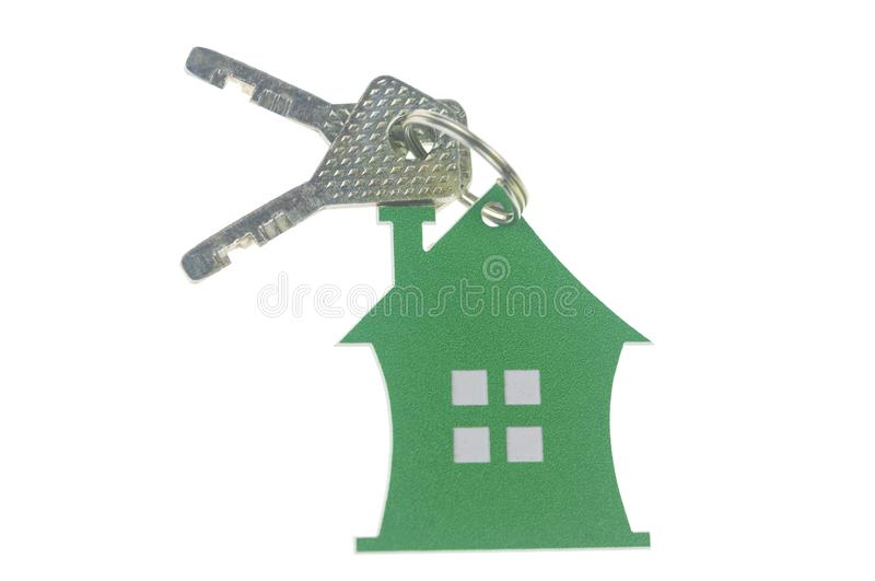 House shaped key chain isolated on white background royalty free stock photo