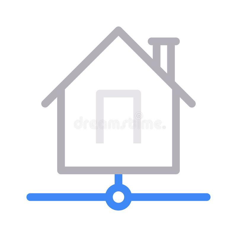 House sharing thin color line vector icon royalty free illustration