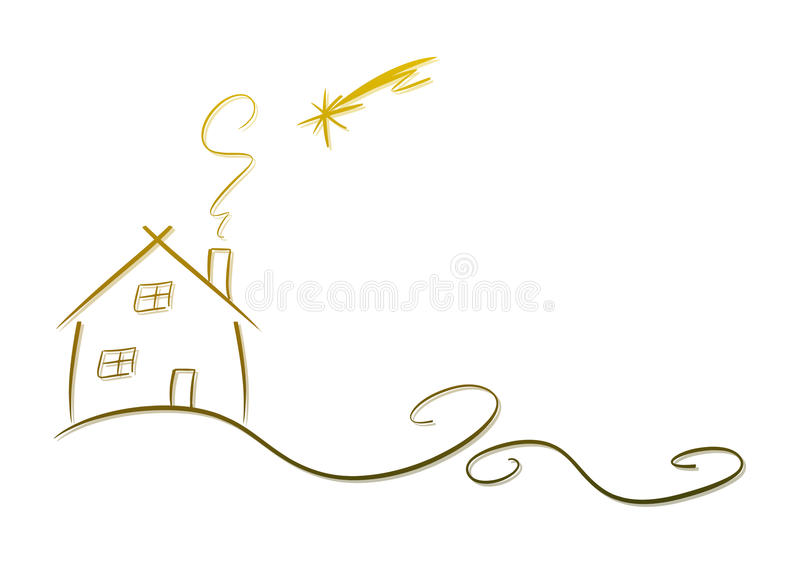 House and shooting star royalty free illustration