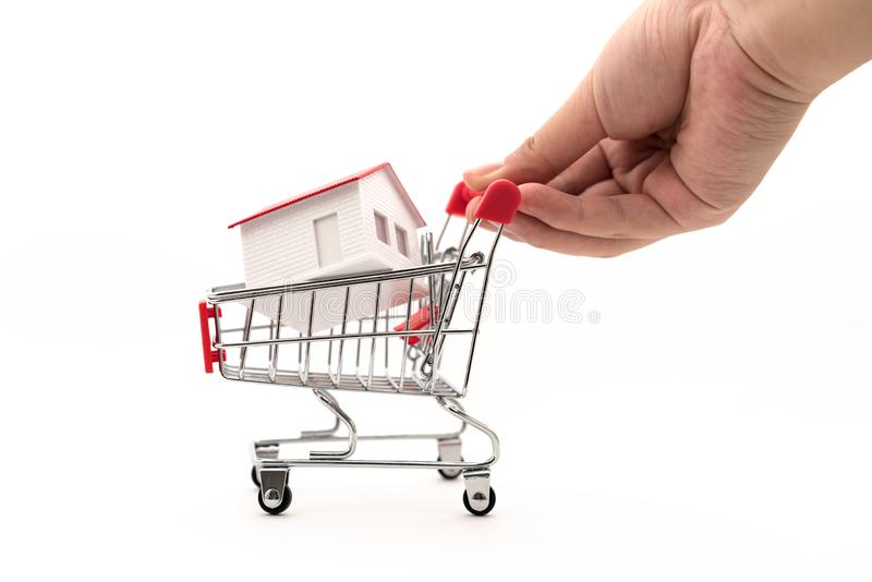 The house is in the shopping cart stock images
