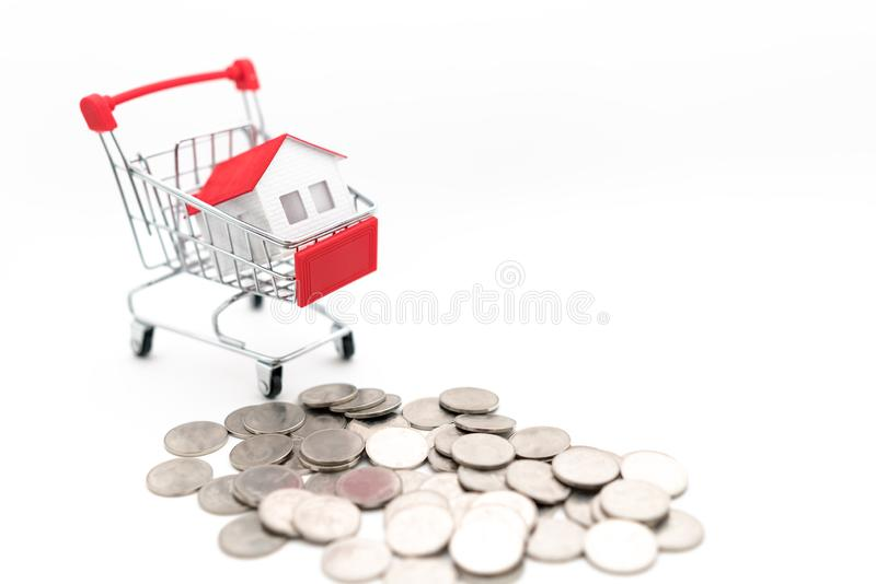 House in the shopping cart royalty free stock images