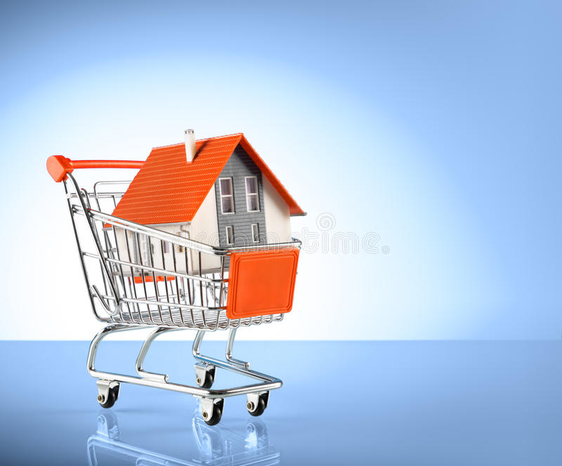 House in shopping-cart royalty free stock image