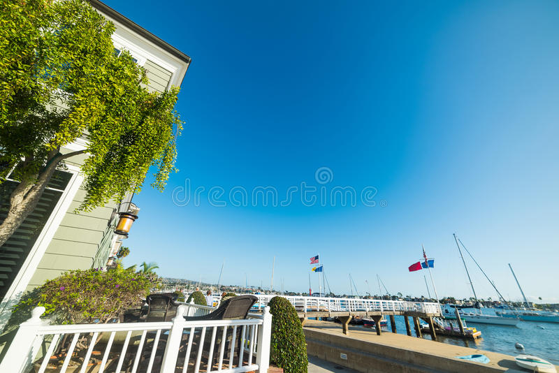 House by the shore in Newport beach stock images