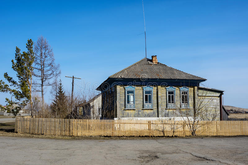 The house in the Siberian village stock image