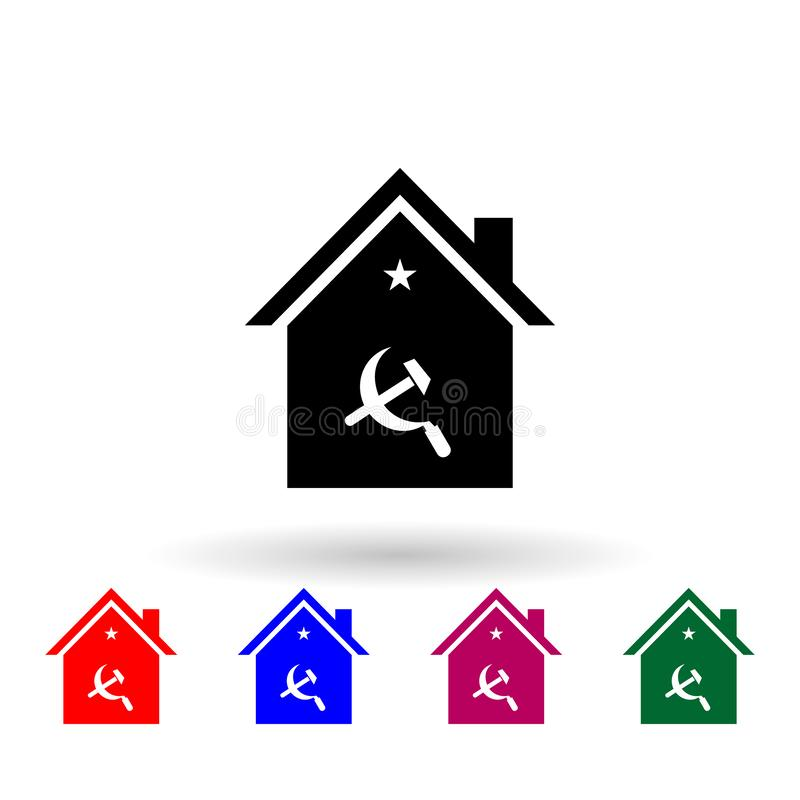 House sickle and hammer multi color icon. Simple glyph, flat vector of communism capitalism icons for ui and ux, website or mobile. Application on white royalty free illustration