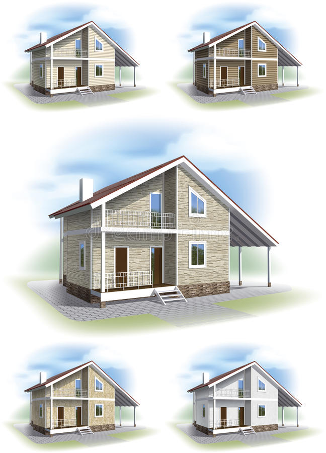 House with decorative siding trim. stock images