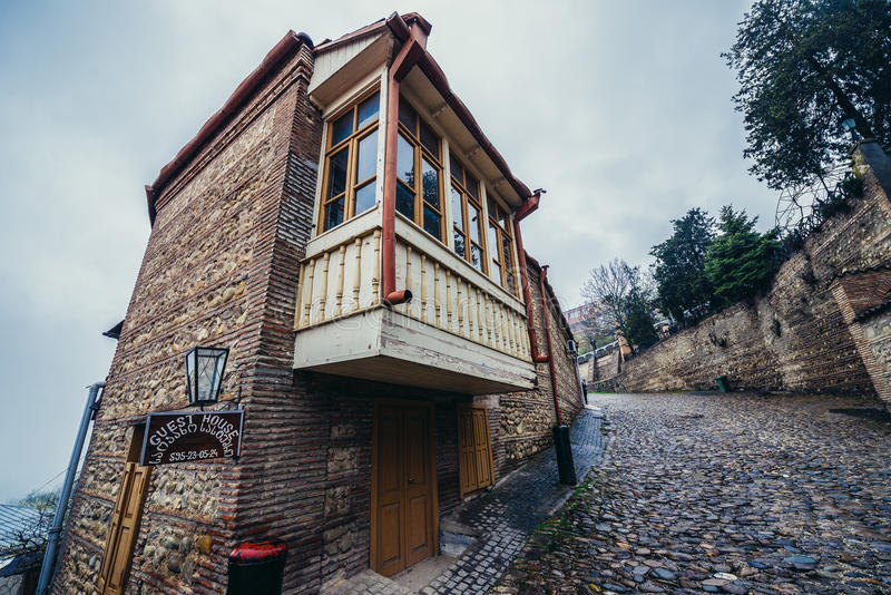 House in Sighnaghi. Sighnaghi, Georgia - April 24, 2015. Guest house in Sighnaghi, small town in Kakheti district royalty free stock image