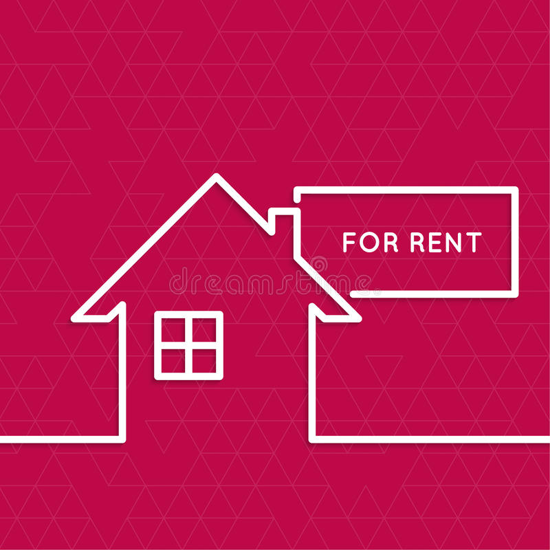 House For Rent Sign: House With A Sign For Rent Stock Vector. Image Of Abode