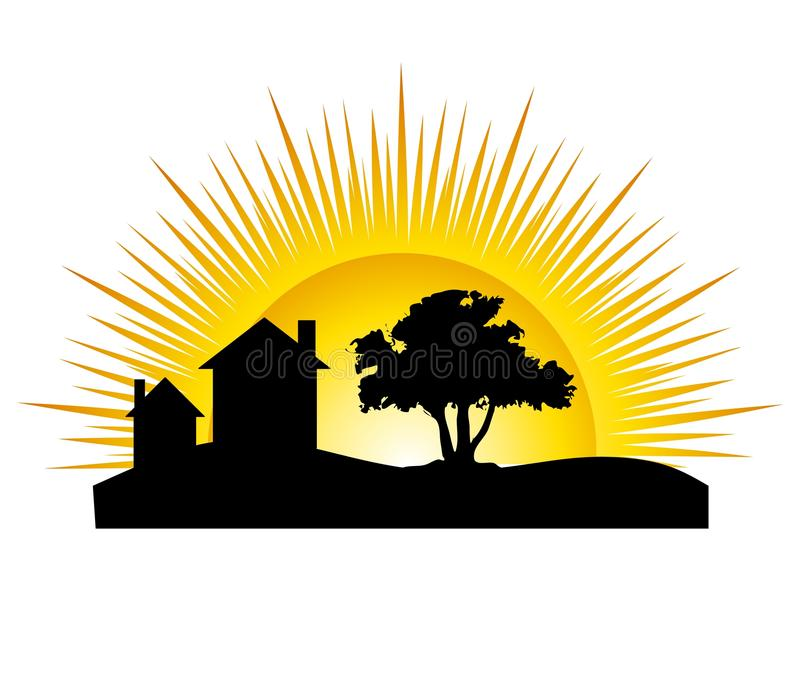 House Silhouette Sun. An illustration featuring a house scene with tree and sun in background stock illustration