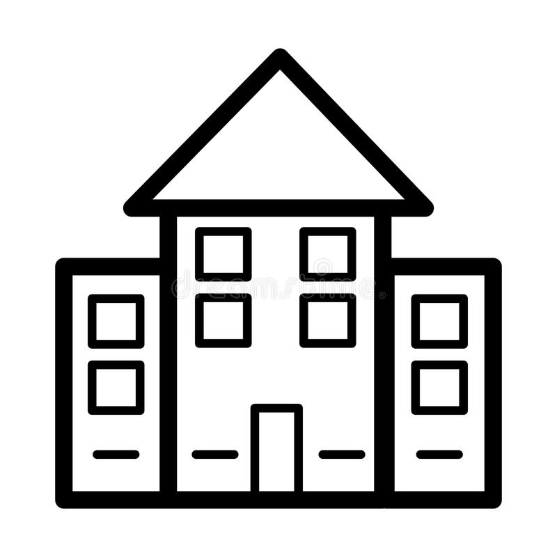 Apartment Clip Art: House Simple Vector Icon. Black And White Illustration Of