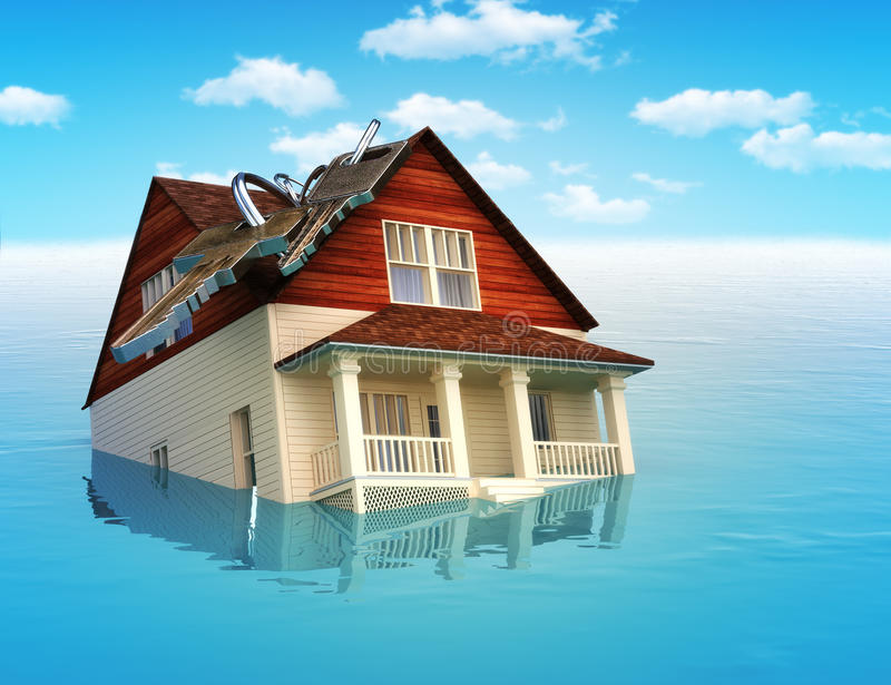 House sinking in water. Real estate housing crisis,flooding, ect. concept vector illustration