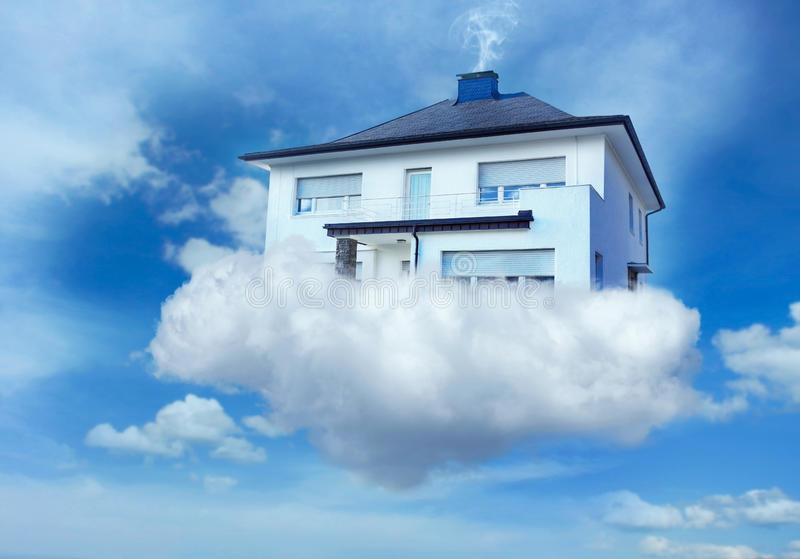 House in the sky. House standing on the cloud hovering in the sky stock images