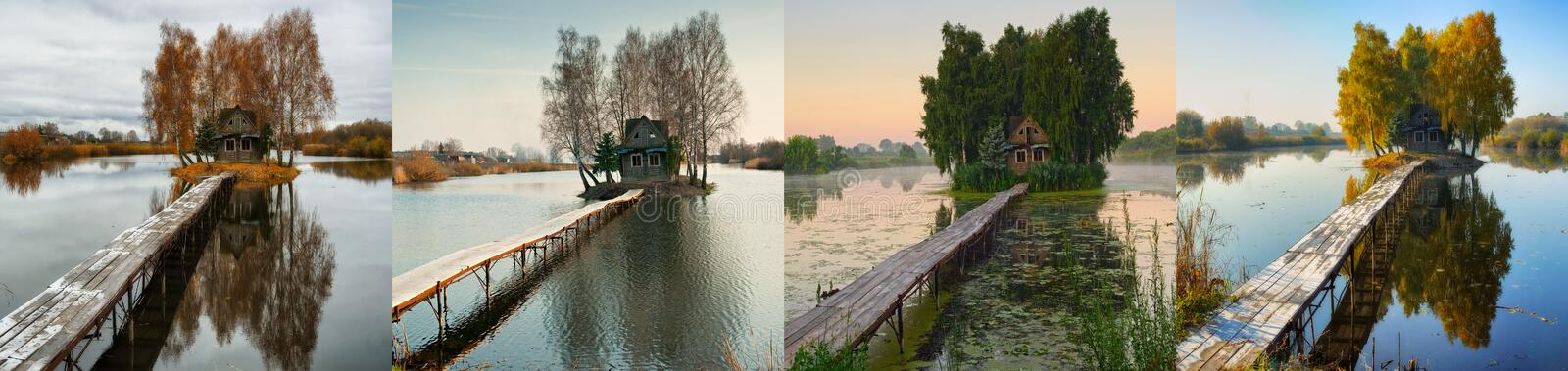 Small island. four seasons. a picturesque hut in all seasons. House on a small island. four seasons. a picturesque hut in all seasons royalty free stock photography
