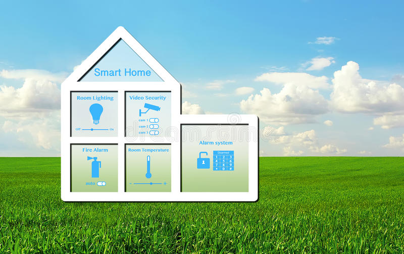 House with a smart home system on a background of green grass an. Model of the house with a smart home system inside on a background of green grass and blue sky stock image