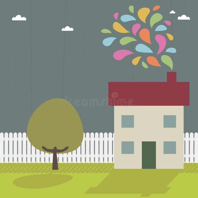 Download House with smoke stock vector. Image of home, smoke, window - 10151172