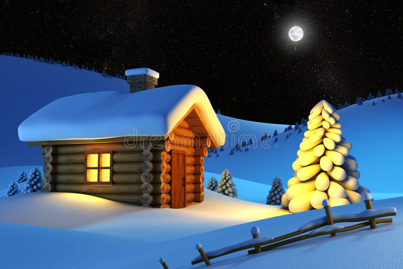 House in snow mountain vector illustration