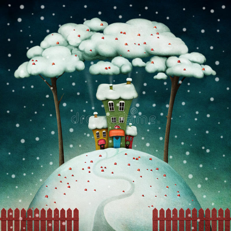 Download House on  snowy hill stock illustration. Image of christmas - 27803329