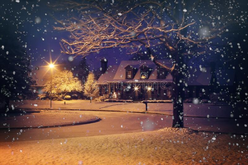 House in snowy weather royalty free stock images