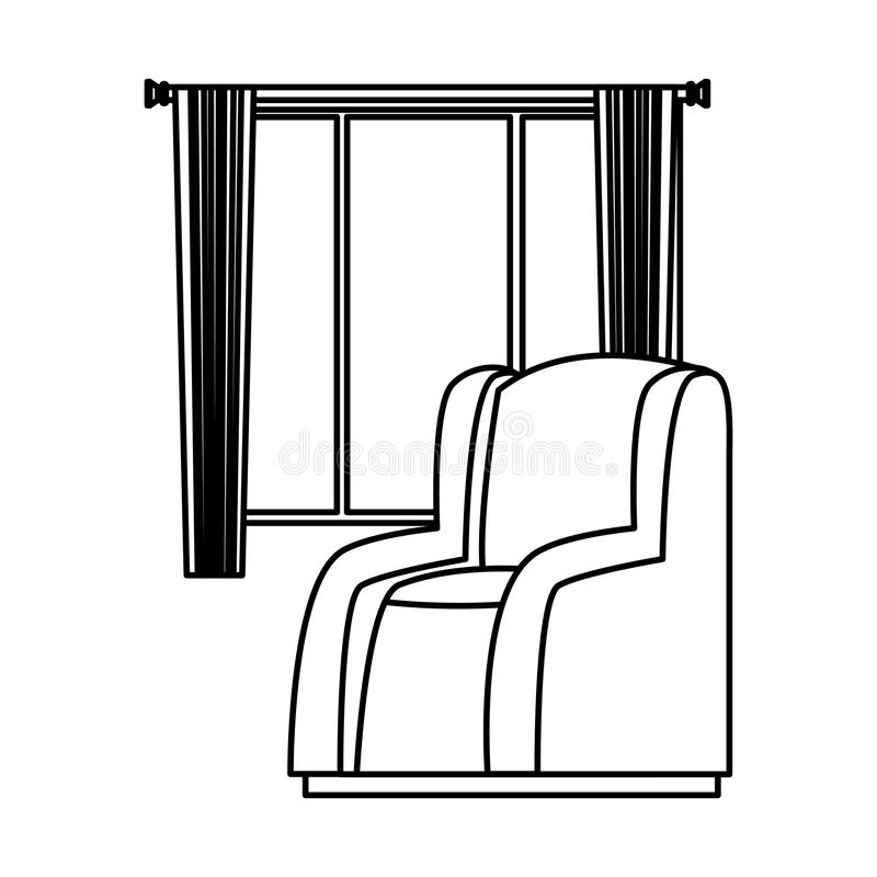House sofa armchair with window and curtains in black and white stock illustration