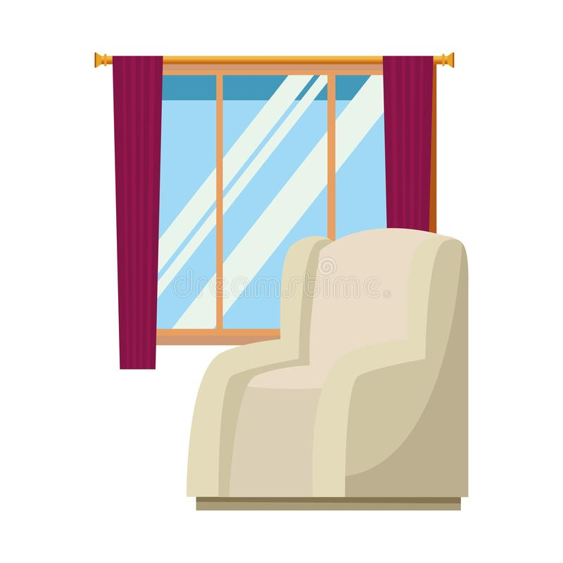 House sofa armchair with window and curtains royalty free illustration