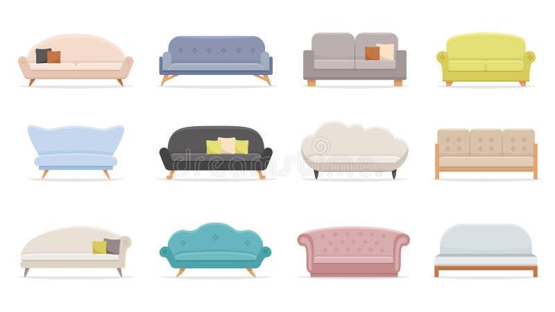 House sofa. Comfortable couch, minimalist modern sofas flat vector illustration set royalty free illustration