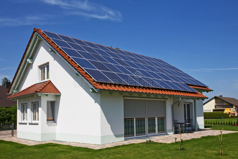 House, solar panel stock photo