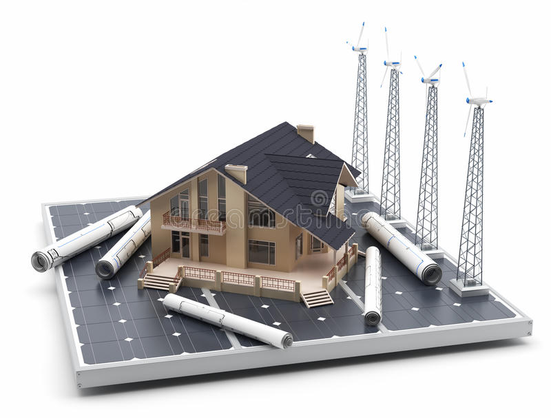 A house on a solar panel, along with windmills and blueprints around. Alternative energy: A house on a solar panel, along with windmills and blueprints around stock illustration