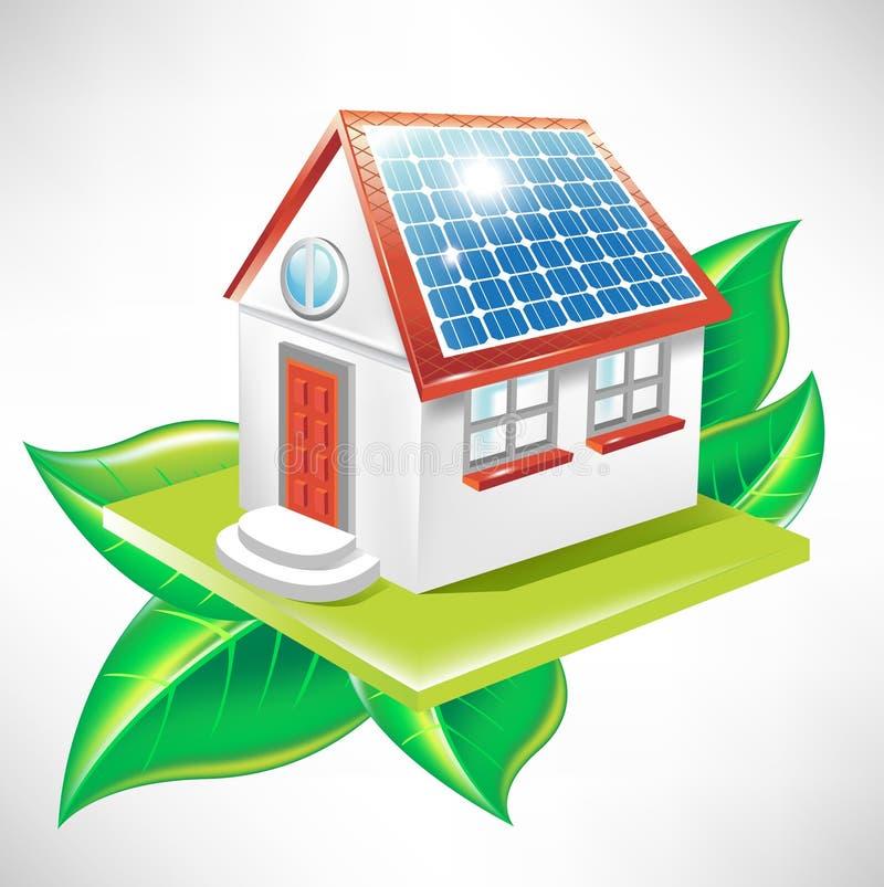 House With Solar Panel Alternative Energy Icon Stock
