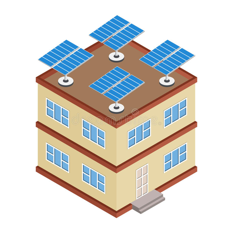 House with solar panel on roof. Isometric cottage with solar cells energy equipment. Eco friendly alternative technology concept. Vector illustration stock illustration