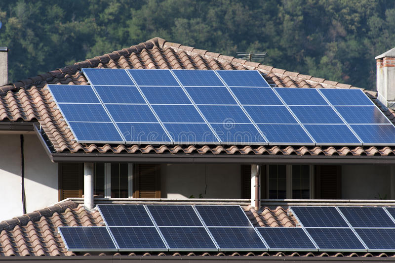 House with solar panels royalty free stock images