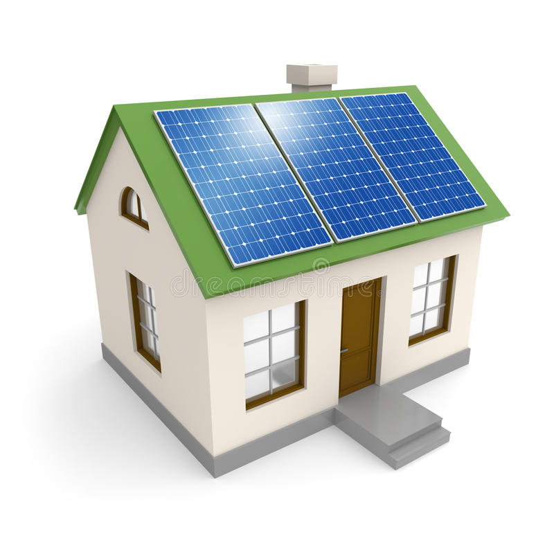 House with solar panels stock illustration