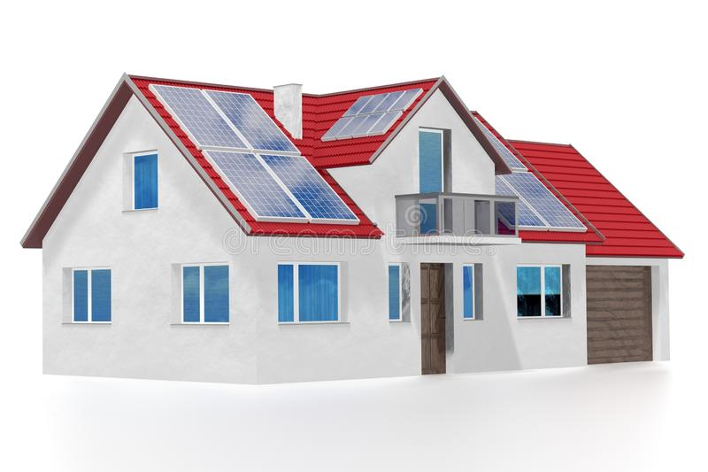 House with solar panels installed on a roof. 3D rendering vector illustration